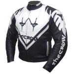 Kc003 Blouson cuir moto quad KARNO - THE CROW noir et blanc