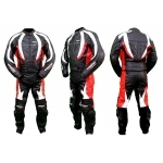 Kc203 Combinaison moto KARNO cuir rouge RED-STORM RACE - 2 parties