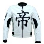 Kc001 Blouson cuir moto quad KARNO DEMON JAPAN blanc - protections amovibles