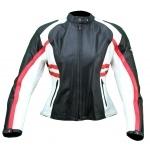 Kc016 Blouson moto FEMME cuir rouge blanc noir KARNO - protections amovibles
