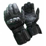 Kc406 Gants moto quad cuir noir KARNO RACING, coutures renforcées