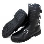 Kc601 Bottes moto biker KARNO style rangers uniforme militaire en cuir noir