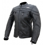 Kc031 Blouson moto cuir FEMME noir KARNO-MOTORSPORT - doublure hiver amovible