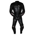 Kc211 Combinaison 2 parties KARNO cuir noir BLACK-STORM - pantalon et blouson dissociables