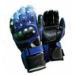 Kc402 Gants moto cuir bleu KARNO RACING - protections carbone