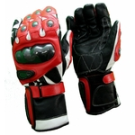 Kc403 Gants moto cuir rouge KARNO RACING - protections carbone