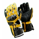 Kc404 Gants moto cuir jaune KARNO RACING - protections carbone