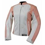 Kc034 Blouson moto Femme KARNO-MOTORSPORT en cuir micro perforé blanc et rose