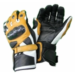 Kc409 Gants moto cuir Racing noir-marron/jaune Karno-Motorsport avec protection carbone