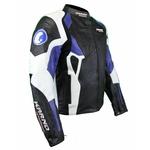 Kc026 Blouson veste cuir moto KARNO bleu - PHANTOM - doubl. hiver amovible