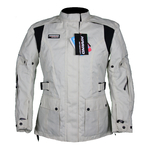 Kd001 Veste moto textile type parka 3/4 blanche Karno-Motorsport