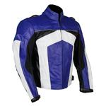 Kd005 Blouson moto cuir bleu et blanc Karno-Motorsport