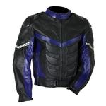 Kd010 Blouson moto cuir noir et bleu Karno-Motorsport