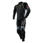 Kc214 Combinaison moto cuir noir gris ACCESS-FIT  Karno-Motorsport - 2 pièces