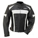 Kc037 Blouson moto cuir noir et blanc EVO ONE Karno-Motorsport
