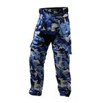 Pantalon treillis moto ou quad motif camouflage militaire bleu