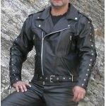 Kc020 BLOUSON cuir noir PERFECTO KARNO à lacets doublure et protections MOTO amovibles