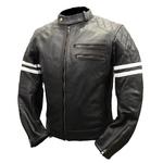 Blouson moto cuir noir vintage RACER STRIPES Karno-Motorsport