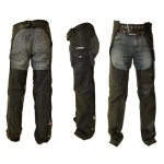 Kc304 Sur-pantalon Chaps en cuir noir KARNO - moto cavalier biker gay