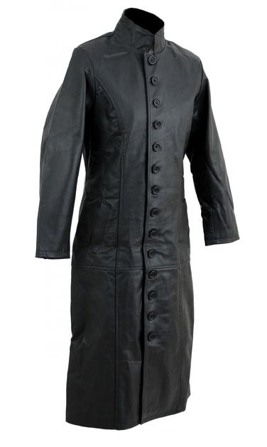 kc019 manteau long cuir noir karno style matrix gothique blouson veste mode loisir en cuir. Black Bedroom Furniture Sets. Home Design Ideas