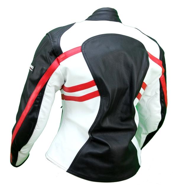 kc016 blouson moto femme cuir rouge blanc noir karno protections amovibles blousons moto. Black Bedroom Furniture Sets. Home Design Ideas