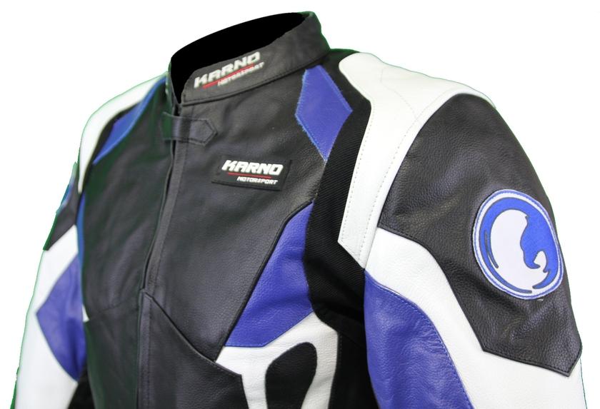 Blouson moto femme cuir bleu