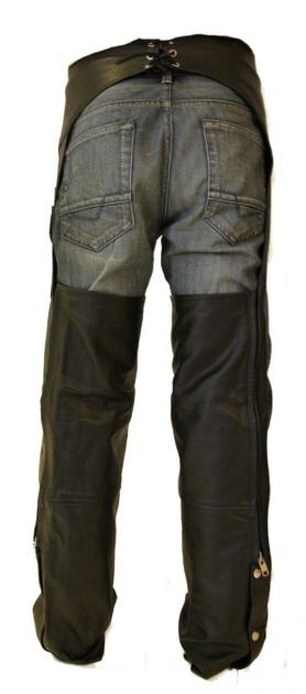 sur pantalon chaps moto en cuir noir pour biker ou cavalier. Black Bedroom Furniture Sets. Home Design Ideas