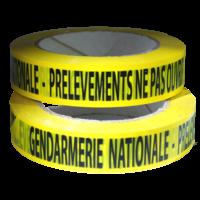 """Ruban adhésif jaune  """"GENDARMERIE NATIONALE - PRELEVEMENTS NE PAS OUVRIR"""" 100m x 2.5cm"""
