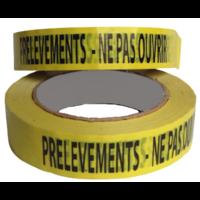 "Ruban adhésif jaune ""PRELEVEMENTS - NE PAS OUVRIR"" 100m x 2.5cm"