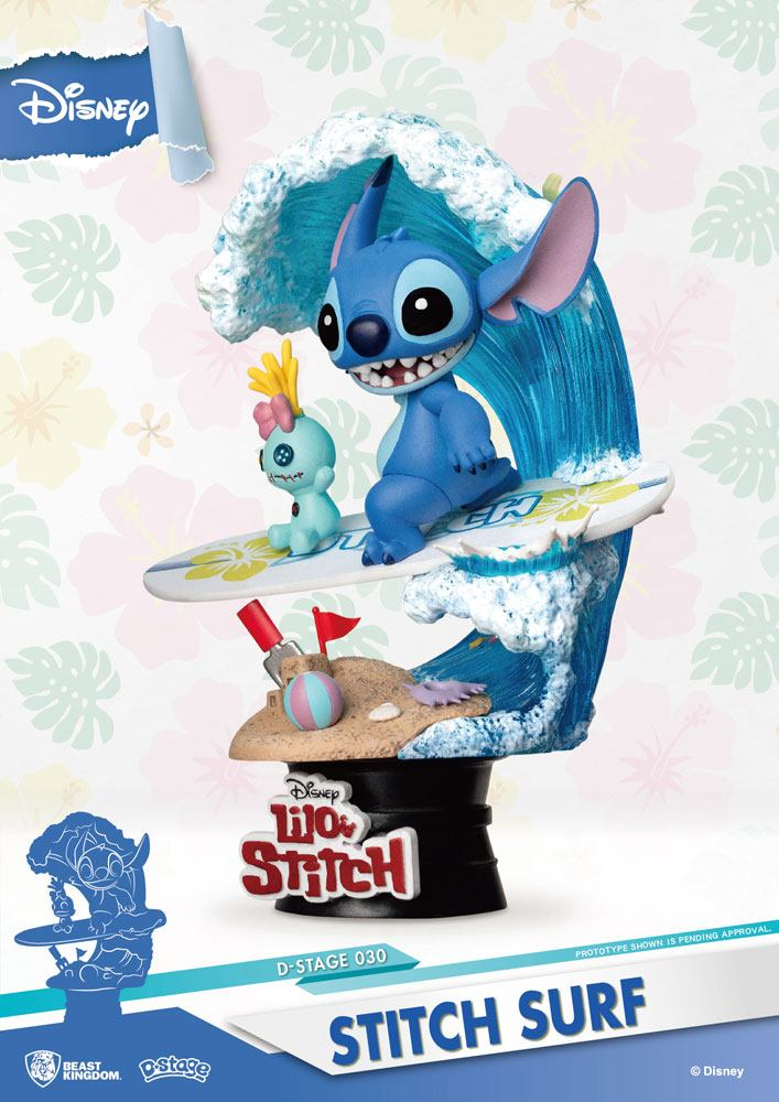 Diorama Disney Summer Series D-Stage Stitch Surf 15cm 1001 figurines (2)