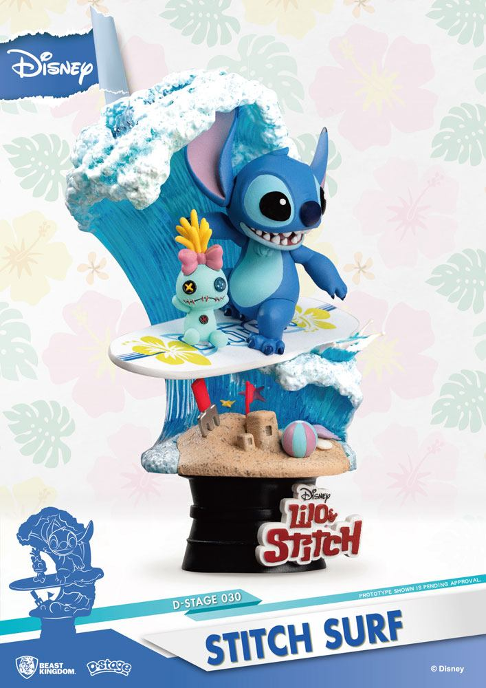 Diorama Disney Summer Series D-Stage Stitch Surf 15cm 1001 figurines (4)