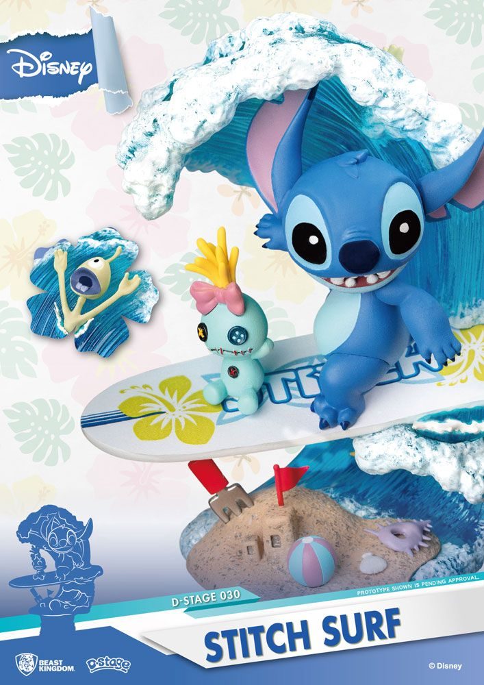 Diorama Disney Summer Series D-Stage Stitch Surf 15cm 1001 figurines (7)