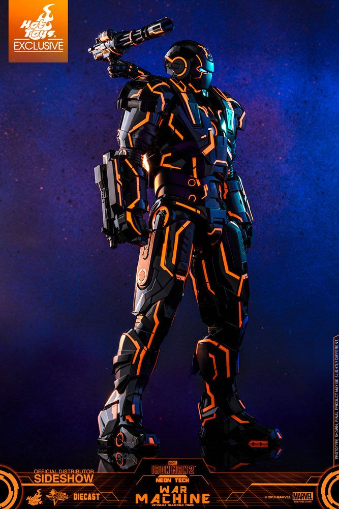 Figurine Iron Man 2 Movie Masterpiece Series Diecast Neon Tech War Machine Hot Toys Exclusive 1001 Figurines (3)