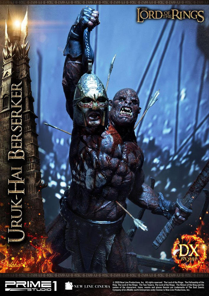 Statue Le Seigneur des Anneaux Uruk-Hai Berserker Deluxe Version 93cm 1001 Figurines (2)