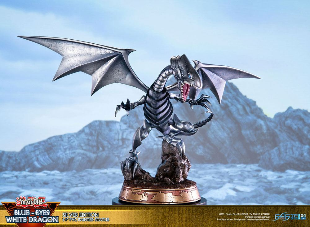 Statuette Yu-Gi-Oh! Blue-Eyes White Dragon Silver Edition 35cm