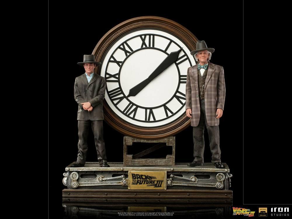 Statuette Retour vers le Futur III Deluxe Art Scale Marty and Doc at the Clock 30cm