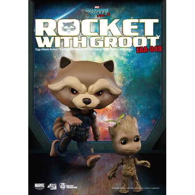 Figurine Les Gardiens de la Galaxie Vol. 2 Egg Attack Rocket Raccoon & Groot 10cm