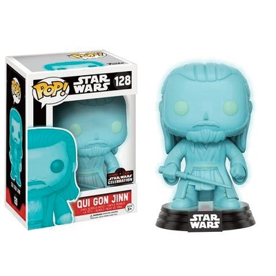 Figurine Star Wars Funko POP! Celebration 2017 Bobble Head Holographic Qui-Gon Jinn 9cm