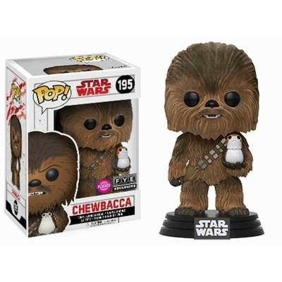 Figurine Star Wars Funko POP! Flocked Chewbacca With Porg Exclusive 9cm