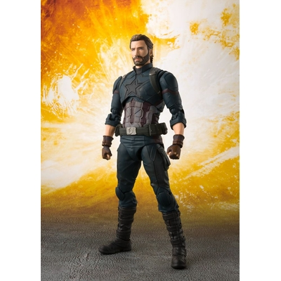 Figurine Avengers Infinity War S.H. Captain America & Tamashii Effect Explosion 16cm