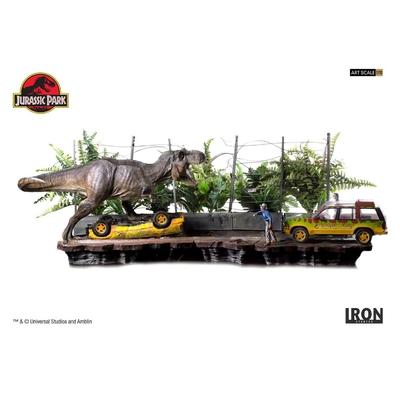 Diorama Jurassic Park Art Scale T-Rex Attack Set A + Set B - 57cm
