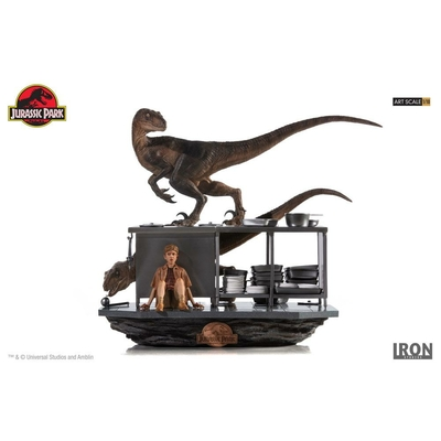 Diorama Jurassic Park Art Scale Velociraptors in the Kitchen 33cm