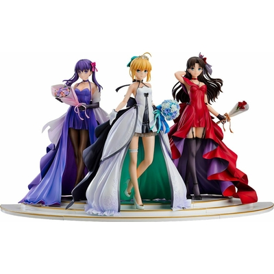 Statuettes Fate Stay Night Saber, Rin Tohsaka and Sakura Matou 15th Celebration Dress Version