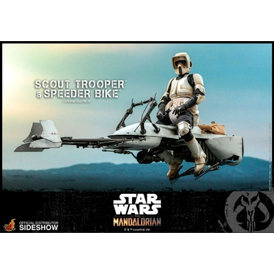 Figurine Star Wars The Mandalorian Scout Trooper & Speeder Bike 30cm