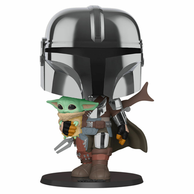 Figurine Star Wars The Mandalorian Super Sized POP! The Mandalorian holding The Child 25cm