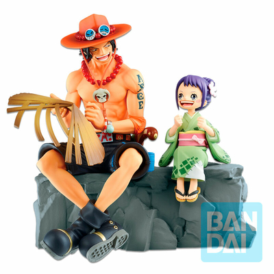Statuette One Piece Ichibansho Portgas D. Ace & Otama Emorial Vignette 20cm