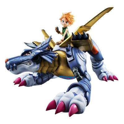 Statuette Digimon Adventure G.E.M. Precious Series Metal Garurumon & Ishida Yamato 30cm
