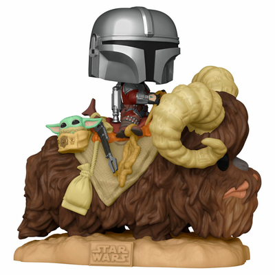 Figurine Star Wars The Mandalorian Funko POP! Deluxe The Mandalorian on Wantha with Child in Bag