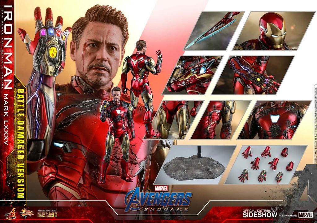 Figurine Avengers Endgame MMS Diecast Iron Man Mark LXXXV Battle Damaged Ver. 32cm 1001 figurines (14)