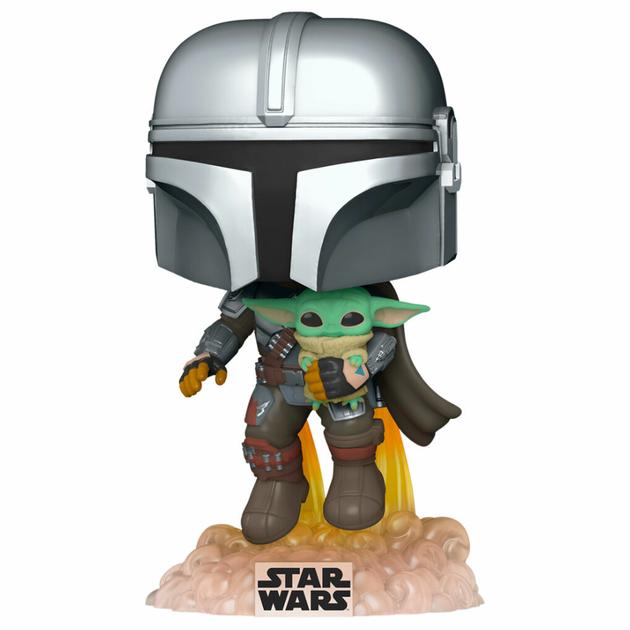 Figurine Star Wars The Mandalorian Funko POP! Mando Flying with Jet Pack 9cm 1001 Figurines 1